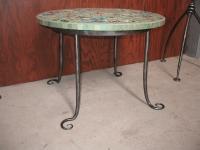Mosaic table frame, scrolled feet